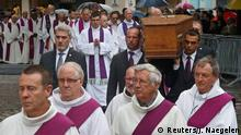 August 2, 2016*** Pallbearers carry the coffin of French parish priest Father Jacques Hamel to the Cathedral in Rouen, France, August 2, 2016. Father Jacques Hamel was killed last week in an attack on a church at Saint-Etienne-du-Rouvray near Rouen that was carried out by assailants linked to Islamic State. REUTERS/Jacky Naegelen Reuters/J. Naegelen