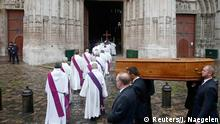 August 2, 2016*** Pallbearers carry the coffin of French parish priest Father Jacques Hamel outside the Cathedral in Rouen, France, August 2, 2016. Father Jacques Hamel was killed last week in an attack on a church at Saint-Etienne-du-Rouvray near Rouen that was carried out by assailants linked to Islamic State. REUTERS/Jacky Naegelen Reuters/J. Naegelen