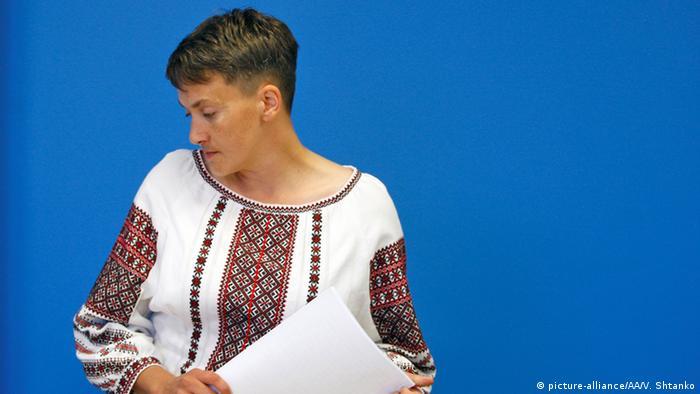 Nadiya Savchenko at a press briefing