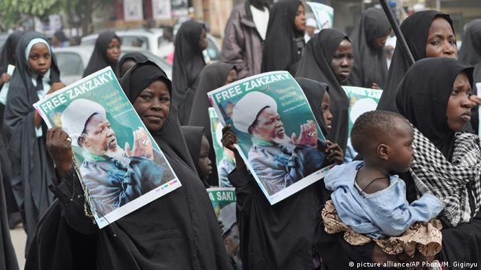 Nigerian Shia Muslims at a demo calling for their leader to be freed.