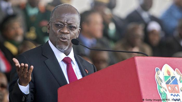 President John Magufuli giving an address