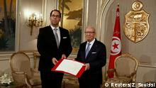 03.08.2016 +++ President Beji Caid Essebsi (R) meets with Prime Minister-designate Youssef Chahed in Tunis,Tunisia August 3, 2016. REUTERS/Zoubeir Souissi