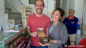 Luis Marín and girlfriend Alegra Cabellon in Spain buying Eduardo Sousa's renowned foie gras (Photo: Lauren Frayer)