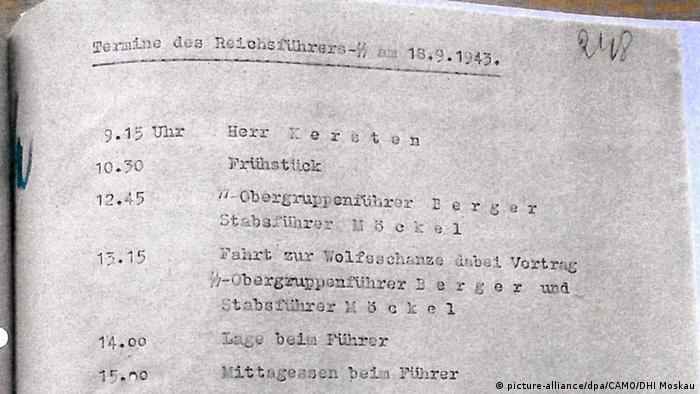 Seite aus dem Dienstkalender von SS-Führer Heinrich Himmler