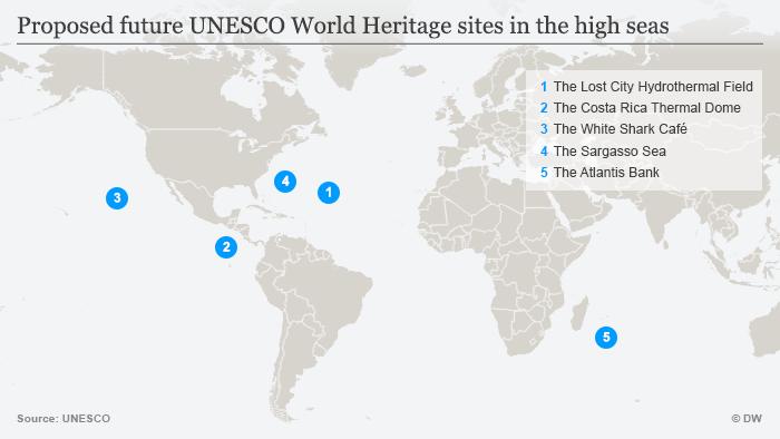 Infografik Vorgeschlagene UNESCO-Weltnaturerbestätten auf Hoher See englisch