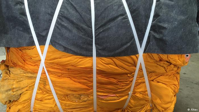 Christo's project 'The Floating Piers' - fabric pressed into bales, Copyright: Altex