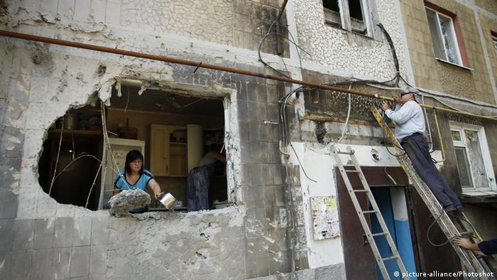 Ukraine Donezker Region Zerstörtes Gebäude