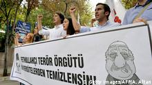 25.07.2016 Pro-nationalist university students shout during a protest against U.S.-based cleric Fethullah Gulen and his followers during a demonstration in Ankara, on July 21, 2016. Turkish authorities on July, 21 imposed a three-month state of emergency, strengthening powers to round up suspects accused of staging the failed military coup despite global alarm over a widening purge. The armed forces blamed the Fethullah Terrorist Organisation (FETO) for the July, 15 failed putsch, referring to Fethullah Gulen, a one-time ally turned foe of President Recep Tayyip Erdogan. / AFP / ADEM ALTAN (Photo credit should read ADEM ALTAN/AFP/Getty Images) Copyright: Getty Images/AFP/A. Altan