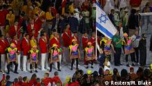 05 August 2016*** 2016 Rio Olympics - Opening ceremony - Maracana - Rio de Janeiro, Brazil - 05/08/2016. Flagbearer Neta Rivkin (ISR) of Israel leads her contingent during the opening ceremony. REUTERS/Mike Blake FOR EDITORIAL USE ONLY. NOT FOR SALE FOR MARKETING OR ADVERTISING CAMPAIGNS. Reuters/M. Blake