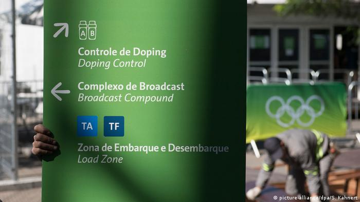 Placa com orientações no Complexo Olímpico dos Jogos de 2016