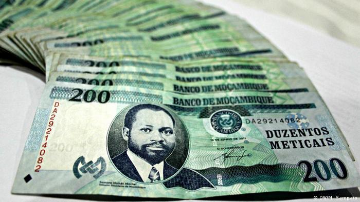 Pile of Mozambiqe's currency - the Metical