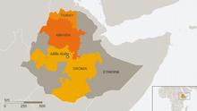 Karte Äthiopien Amhara, Tigray, Oromia Englisch