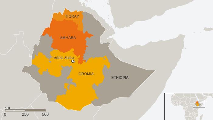 Map of Ethiopia showing ethnic regions