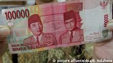 Indonesische Unabhängigkeitserklärung Jahrestag 100.000 Rupien Geldschein mit Unabhängigkeitserklärung