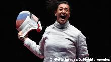 08.08.2016 RIO DE JANEIRO, BRAZIL - AUGUST 08: Yana Egorian of Russia celebrates winning the gold medal after her bout against Sofya Velikaya of Russia during the Women's Individual Sabre Gold Medal Bout on Day 3 of the Rio 2016 Olympic Games at Carioca Arena 3 on August 8, 2016 in Rio de Janeiro, Brazil. (Photo by Dean Mouhtaropoulos/Getty Images) Copyright: Getty Images/D. Mouhtaropoulos
