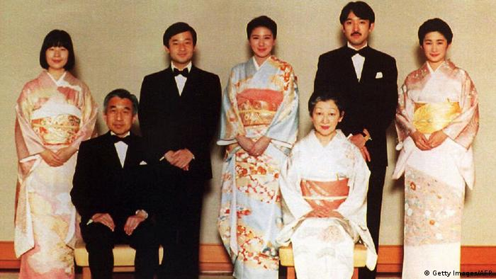 Members of the Japanese imperial family pose prior to a dinner