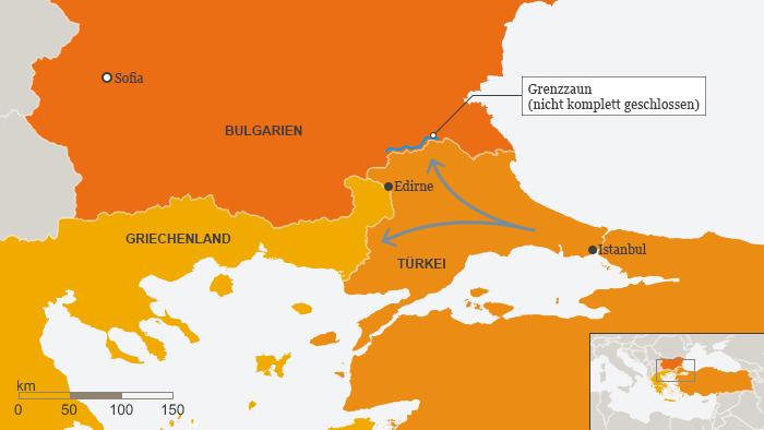 Cresc presiunile refugiaților la granița turco-bulgară - în imagine este marcat locul în care această frontieră nu este securizată cu un gard