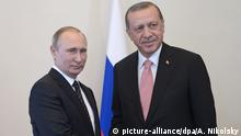 09.08.2016 2908085 08/09/2016 Russian President Vladimir Putin (left) meeting with Turkish President Recep Tayyip Erdogan at the Constantine palace in St. Petersburg, August 9, 2016. Aleksey Nikolskyi/Sputnik | picture-alliance/dpa/A. Nikolsky