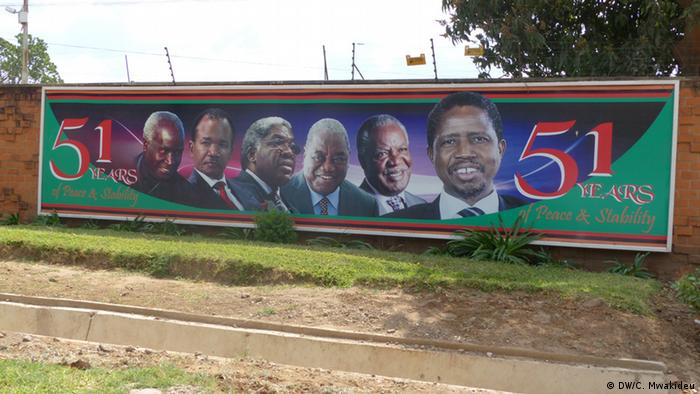A poster showing Zambian presidents since independence. (DW/C. Mwakideu)