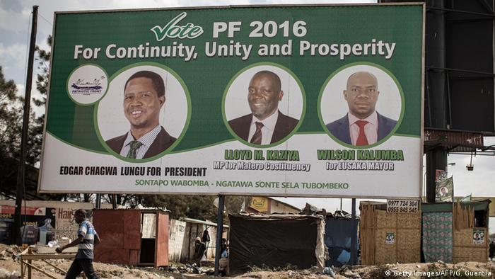 Sambia Lusaka Wahlen Plakat von Präsident Edgar Lungu