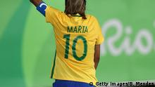 06.08.2016 RIO DE JANEIRO, BRAZIL - AUGUST 06: Marta of Brazil celebrates with fans after Brazil defeated Sweden 5-1 during the Women's Group E first round match on Day 1 of the Rio 2016 Olympic Games at the Olympic Stadium on August 6, 2016 in Rio de Janeiro, Brazil. (Photo by Buda Mendes/Getty Images) Getty Images/B. Mendes