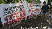 Anti -LGBT Banner Indonesien