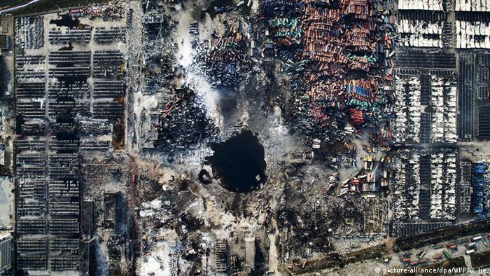 China Tianjin Explosion Luftaufnahme des Unglücksortes 2016 (picture-alliance/dpa/WPP/C. Jie)