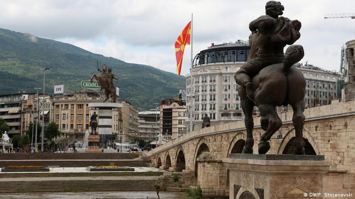 Mazedonien Bauarbeiten Riesenrad in Skopje