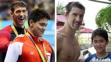 Bildcombo Hundert Meter Schmetterling: Phelps lässt sich freudig von Fan entthronen