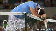 Tennis - Men's Singles Gold Medal Match 2016 Rio Olympics - Tennis - Final - Men's Singles Gold Medal Match - Olympic Tennis Centre - Rio de Janeiro, Brazil - 14/08/2016. Juan Martin Del Potro (ARG) of Argentina reacts during match against Andy Murray (GBR) of Britain. REUTERS/Toby Melville FOR EDITORIAL USE ONLY. NOT FOR SALE FOR MARKETING OR ADVERTISING CAMPAIGNS.