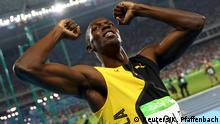 Athletics - Men's 100m Final 2016 Rio Olympics - Athletics - Final - Men's 100m Final - Olympic Stadium - Rio de Janeiro, Brazil - 14/08/2016. Usain Bolt (JAM) of Jamaica celebrates winning the gold. REUTERS/Kai Pfaffenbach FOR EDITORIAL USE ONLY. NOT FOR SALE FOR MARKETING OR ADVERTISING CAMPAIGNS.