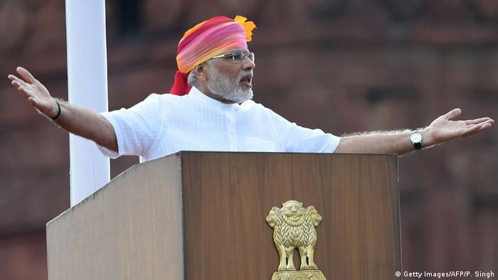 Indian Prime Minister Narendra Modi gestures as he delivers his Independence Day speech from The Red Fort in New Delhi on August 15, 2016 (Photo: PRAKASH SINGH/AFP/Getty Images)