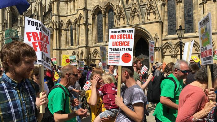 Antifracking protesters in the UK city of York on July 30 (Photo: Greg Norman)