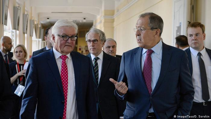 Viktor Koksharov, rector of the Ural Federal University, Germany s Foreign Minister Frank-Walter Steinmeier and Russia s Foreign Minister Sergei Lavrov (L-R)