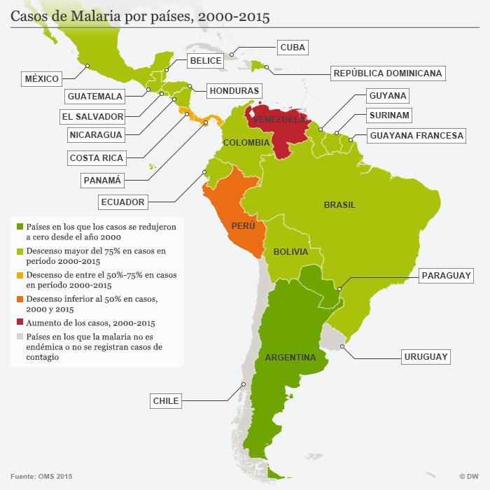 Infografik Karte Verbreitung Malaria Lateinamerika 2000 - 2015 SPA