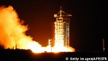 16.08.2016 China's quantum satellite - nicknamed Micius after a 5th century BC Chinese scientist - blasts off from the Jiuquan satellite launch centre in China's northwest Gansu province on August 16, 2016. China launched the world's first quantum satellite on August 16, state media reported, in an effort to harness the power of particle physics to build an 'unhackable' system of encrypted communications. / AFP / STR / China OUT (Photo credit should read STR/AFP/Getty Images) Copyright: Getty Images/AFP/STR