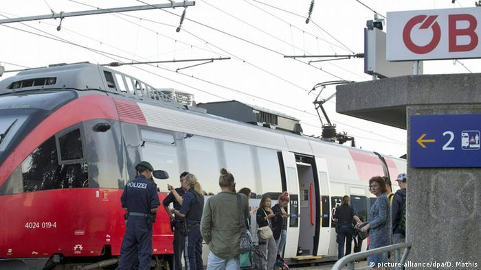A train at a station in Austria where a 60-year-old man attacked passengers with a knife