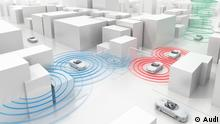 Audi Traffic light information Traffic light information system is first step in vehicle to infrastructure (V2I) integration, set to launch in select smart cities Fall 2016 in the U.S. (c) Audi