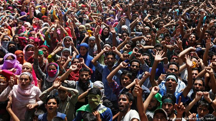 Kashmiri protesters rally against the killing of civilians by security forces.