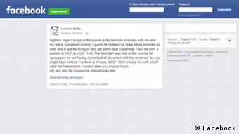 Facebook Screenshot Farage an Deutscher Botschaft in London gesichtet