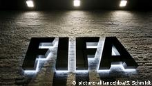 The FIFA logo on the wall at the Zurich headquarters