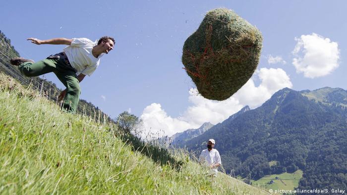 Global Ideas Bild der Woche KW 33 Schweiz Heuballen werfen (picture-alliance/dpa/S. Golay)