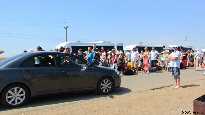 Der Kontrollpunkt Kalantschak an der administrativen Grenze zwischen der Krim und dem ukrainischen Festland.