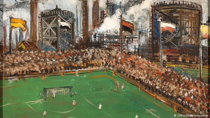 Painting 'Soccer field Schalke 04' by Friedrich G. Einhoff (Photo: LVR-Industriemuseum)