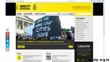 Screenshot Website Amnesty International Indien