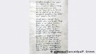 Heinrich Hoffmann von Fallersleben's hand-written Song of Germany, Copyright: picture-alliance/dpa/P. Grimm
