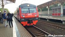 Zug auf der Station in Moskau Russland