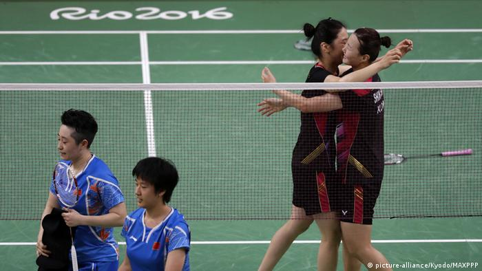 Rio 2016 Olympia Badminton Frauendoppel Südkorea Shin Seung-Chan, right, and Jung Kyung-Eun