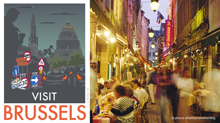 Monk's Brussels travel poster and photo of Brussels