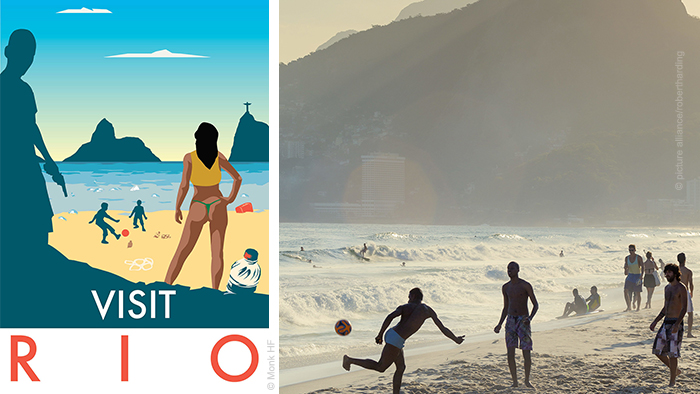 Monk's Rio travel poster and photo of beach in Rio